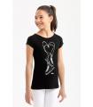 Tee Shirt IM 6372, Patins strass, noir,Enf