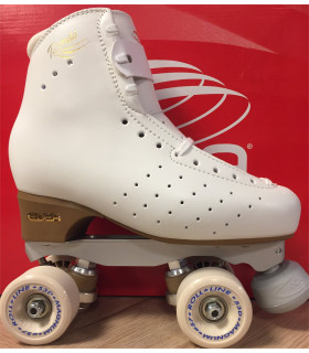 4 roues classiques pour patinage en cuir brillant pour femmes gar/çons et filles hommes AYES Patins /à roulettes en cuir synth/étique pour int/érieur et ext/érieur blanc Flash,5,5