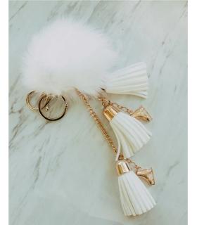 Porte-clés de patinage, Fluffy fourrure blanche, Brilliance & Melrose