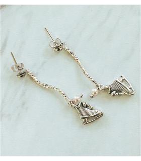 Boucles d'oreilles Patins , clous, longues, argenté, Brilliance & Melrose
