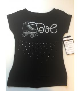Tee Shirt IM 6513, Roller Artistique, NOIR, Enf.